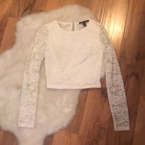 Forever 21 cream lace long sleeve crop top